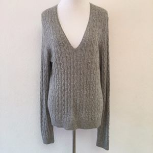 J. Crew Cable Knit Cashmere Sweater Size M Gray